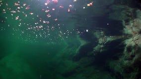Onderwaterlandschap van rivier Verzasca op achtergrond van reusachtige vlotte stenen stock videobeelden