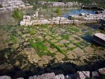 Onderwaterruïnes van Limyra, Turkije Stock Foto