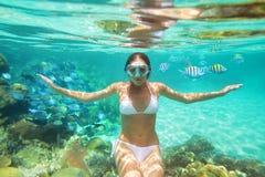 Onderwaterspruit een meisje in bikini op achtergrond van koraalrif Stock Foto