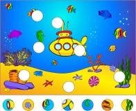Onderwaterwereld en onderzeeër: voltooi het raadsel stock illustratie