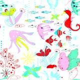 Onderwaterwereld met vissen, kwallen, zeepaardjes, overzeese sterren, koralen, waterwegen royalty-vrije illustratie