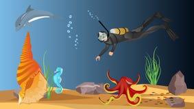 Onderwaterwereld vectorillustratie, overzeese diepte en het de gewoontemieren van ` s Stock Foto