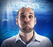 Onderwaterzakenman Stock Afbeeldingen