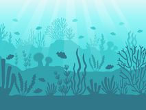 Onderwaterzeegezicht Oceaankoraalrif, diepzeebodem en het zwemmen onder water Mariene koralenvector als achtergrond vector illustratie