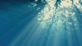 Onderwaterzonnestraleneffect, golven stock video