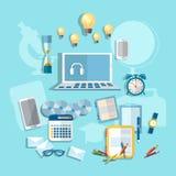 Onderwijs: de online het leren vectorillustratie van het studentenbureau Royalty-vrije Stock Fotografie