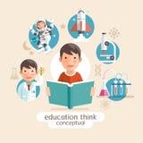 Onderwijs die conceptueel denken Kinderen die boeken houden vector illustratie