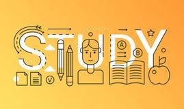 Onderwijs die van de het woord in samenstelling van 2019 het conceptenbanner leren E-leert overzichtsslag, online cursus Vlakke l stock illustratie