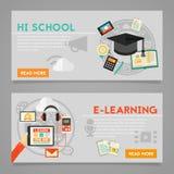 Onderwijs en e-Lerend Conceptenbanners Royalty-vrije Stock Foto