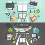 Onderwijs en e-lerende concepten royalty-vrije illustratie