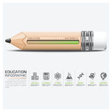 Onderwijs en het Leren Infographic met Schaalpotlood Stock Foto