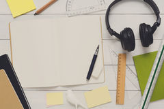Onderwijs en het werk het vlakke concept, legt van werkplaats Royalty-vrije Stock Afbeeldingen