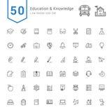 Onderwijs en Kennispictogramreeks 50 lijn Vectorpictogrammen vector illustratie