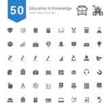 Onderwijs en Kennispictogramreeks 50 stevige Vectorpictogrammen vector illustratie