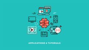 Onderwijs en online het leren de vlakke lineaire animatie van ontwerpconcepten