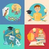 Onderwijs en opleidende schooljongen die terug naar school leren Royalty-vrije Stock Foto
