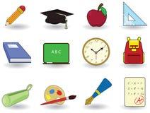 onderwijs en schoolpictogrammen Stock Foto's