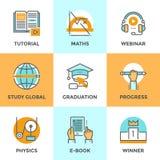 Onderwijs en studie geplaatste lijnpictogrammen vector illustratie