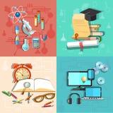 Onderwijs en Wetenschap: online lerend, vectorillustratie Stock Fotografie