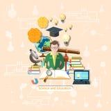 Onderwijs en wetenschap: student, studie, illustratie Royalty-vrije Stock Foto