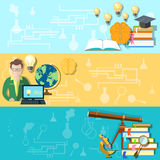 Onderwijs en wetenschap: student, studie, vectorillustratie Royalty-vrije Stock Foto