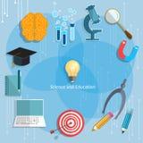 Onderwijs en Wetenschap terug naar schoolobjecten graduatieconcept Royalty-vrije Stock Foto's