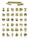 Onderwijs en wetenschapspictogrammen, document versie, op witte achtergrond Royalty-vrije Stock Foto