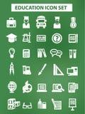 Onderwijs en wetenschapspictogrammen, Krijtversie, op bordachtergrond Stock Foto