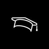 Onderwijs, graduatie GLB/de eenvoudige vectorillustratie van het hoedenpictogram royalty-vrije illustratie