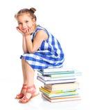 Onderwijs - grappig meisje met boeken. Royalty-vrije Stock Fotografie