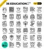 Onderwijs & het Leren pictogrammen van het pixel de perfecte overzicht Royalty-vrije Stock Foto