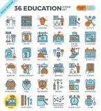 Onderwijs & het Leren pictogrammen van het pixel de perfecte overzicht Stock Fotografie