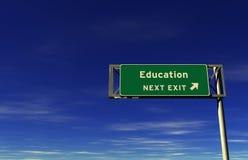 Onderwijs - het Teken van de Uitgang van de Snelweg Royalty-vrije Stock Afbeelding