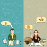 Onderwijs: leraar, de school van de studentenleraar, universiteits vectorbanners Royalty-vrije Stock Fotografie