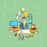 Onderwijs, leraar, student, online, vectorillustratie Royalty-vrije Stock Fotografie