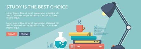 Onderwijs marketing vlakke banner met schoolinstrumenten vector illustratie