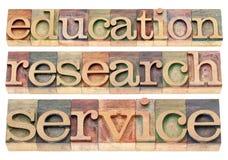 Onderwijs, onderzoek en de dienst royalty-vrije stock fotografie