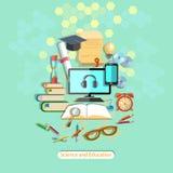 Onderwijs, online lerend, studentenbureau, vectorillustratie Stock Foto