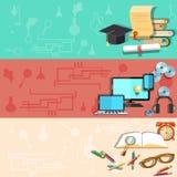 Onderwijs, online opleidend, universitaire, vectorbanners Stock Afbeelding