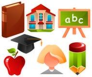 Onderwijs pictogrammen Stock Foto