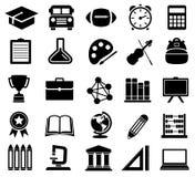 Onderwijs, School, Pictogrammen, Silhouetten Royalty-vrije Stock Afbeelding