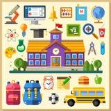 Onderwijs school universiteit Vector vlakke pictogramreeks en illustraties vector illustratie