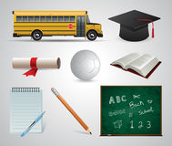 Onderwijs school universiteit Vector vlakke pictogramreeks en illustraties Stock Foto