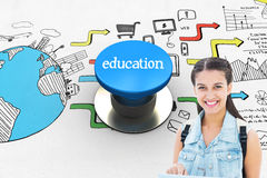 Onderwijs tegen blauwe drukknop Stock Afbeelding