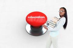 Onderwijs tegen digitaal geproduceerde rode drukknop Stock Afbeelding