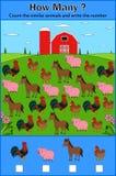 Onderwijs tellend spel van landbouwbedrijfdieren voor peuterkinderen royalty-vrije illustratie