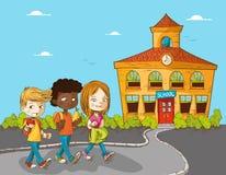 Onderwijs terug naar de jonge geitjes van het schoolbeeldverhaal. Stock Foto