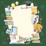 Onderwijs terug naar de onderwerpen van de de handboekenschool van schoollessen Stock Afbeelding