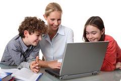 Onderwijs thuis Stock Foto's