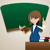 Onderwijs van de beeldverhaal het leuke leraar bij bord Stock Foto's